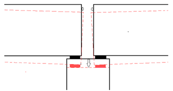 voorbeeld van voegbewegingen ten gevolge van rotaties door (verticale) zettingsverschillen