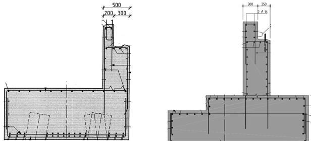 Twee voorbeelden van maatvoering van grondkerende wanden