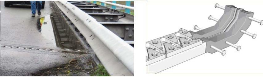 Wateraccumulatie tegen een voegovergang en correct detail gootconstructie