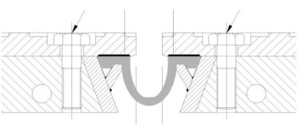 Opgesloten rubberprofiel in voorgespannen verbinding