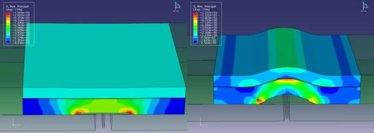 Voorbeeld 3D EEM simulatie, links een voegovergang bij maximale dilatatie, rechts dezelfde constructie bij minimale dilatatie