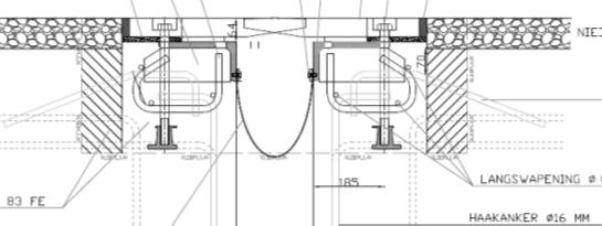 Voeg in de brug Katerveer 2 Voorontwerp (Freyssinet) capaciteit 300 mm (definitief uitgevoerd zonder stalen basis)
