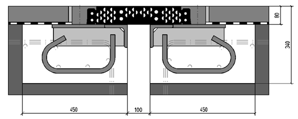 Geperforeerde mattenvoeg  gefixeerd door klemprofielen Fabricaat Sollinger Hütte (nu Mageba).