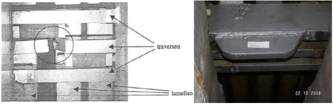 Breuk traversebalk (links) en herstelde traversebalk rechts)